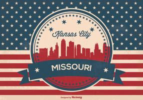 Retro Kansas City Missouri Skyline Illustration