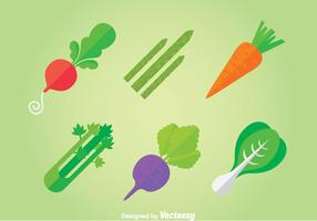 Vegetables Flat Icons Vector