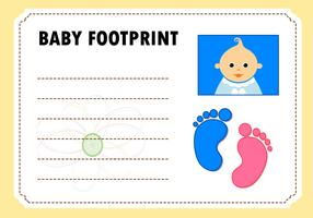 Baby Footprint Card Invitation Vector