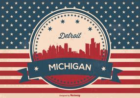 Detriot Michigan Retro Skyline Illustration