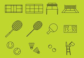 Racket Sport Line Icons