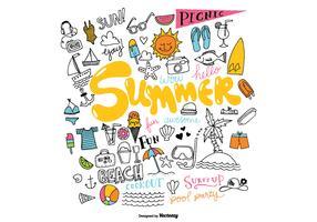 Hand Drawn Summer Element Vectors