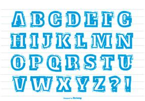 Messy Blue Paint Stroke Style Alphabet