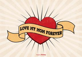 I Love Mom Tattoo Style Illustration