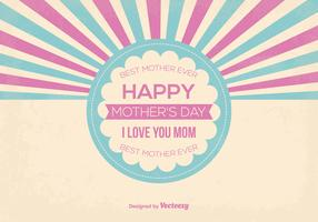 Cute Retro Style Mother's Day Vector Illustration