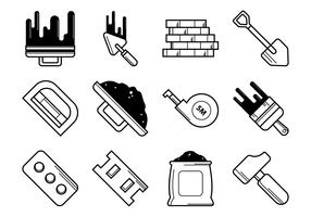 Bricklayer Tools Icon Vector