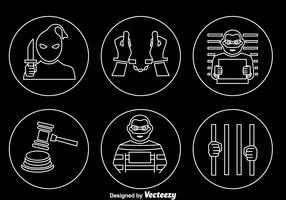 Criminal Outline Icons Vector