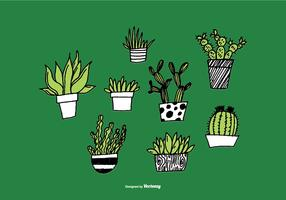 Hand Drawn Succulent Planter Vectors