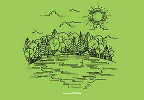 Outdoor River Scene Vector Background