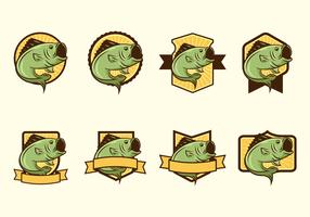 Free Largemouth Bass Fish Badge Vectors