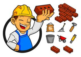 Bricklayer And Tools Icon Vector