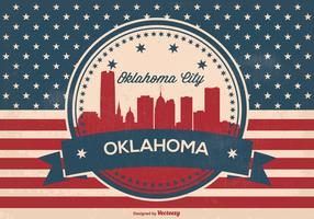 Oklahoma City Retro Skyline Illustration