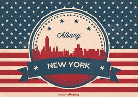 Albany New York Retro Skyline Illustration