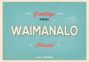 Waimanalo Hawaii Retro Greeting Illustration