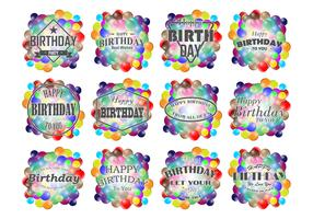 Smarties Birthday Labels Vector