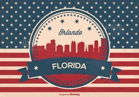 Retro Style Orlando Florida Skyline Illustration
