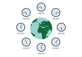 Vector World with Time Zone Clocks