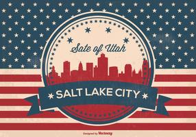 Retro Salt Lake City Skyline Illustration