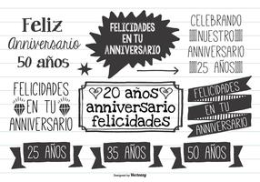 Cute Hand Drawn Style Anniversario Labels