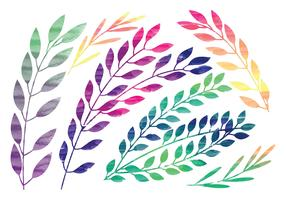 Vector Rainbow Watercolor Branches