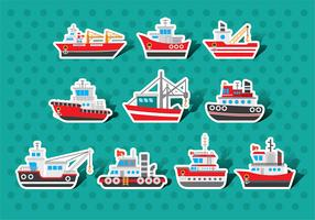 Tugboat Vector Sticker Pack