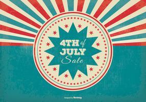 Retro Sunburst Style 4th of July Sale Illustration