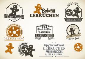 Lebkuchen styles badges vector