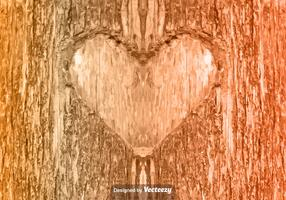 Vector Heart Carved In Tree