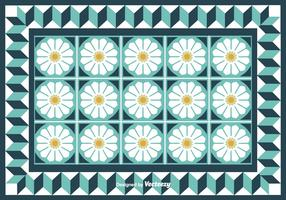 Tiles With Cute Flowers Vector Background