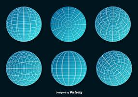Set Of Blue Wire Frame Planet Spheres Vector