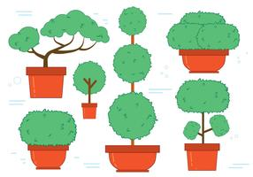 Free Bonsai Tree Vector Set