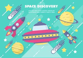 Free Flat Space Vector Illustration With Space Ship
