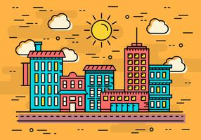 Free Linear Seaside City Vector Illustration