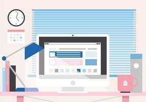 Free Beautiful Work Desk Vector Illustration
