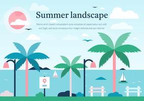 Pink Summer Vector Landscape