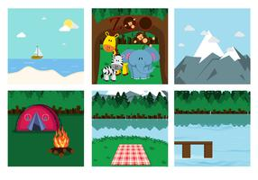 Family Picnic Place Vectors