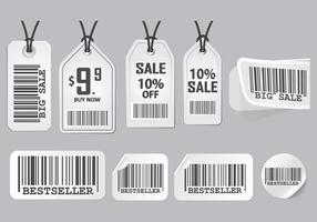 Barcode Advertisement Sticker Design Vector set