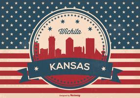 Retro Wichita Kansas Skyline Illustration