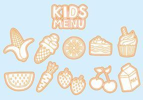 Kids Menu Icons Vectors