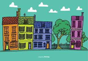 Colorful Row House Vectors
