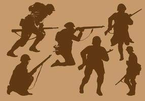 World War 2 Soldier Silhouette Vectors