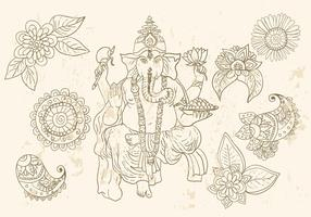 Ganesha And Mehndi Symbols