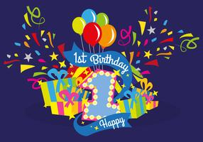 First Birthday Vector Illustration