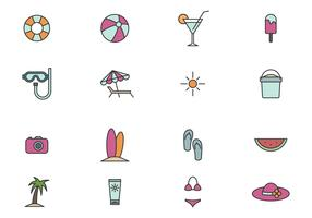 Outline Beach Icon Set