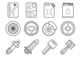 Free Mechanic and Car Parts Icon Vector