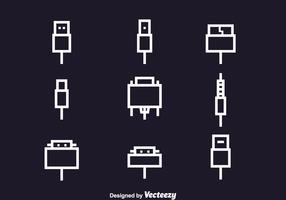 Wire Cable Icons Set