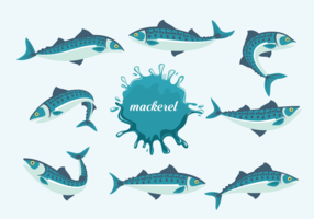 Mackerel Fishes Vector Illustration