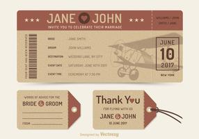Free Vector Retro Wedding Plane Ticket