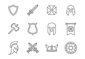 Free Simple Line Medieval War / Knight Templar Icons
