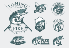 Pike Fishing Badge Vector